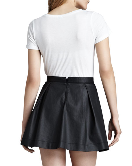 July Waxed Pleated Miniskirt