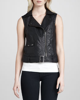 French Connection Thea Quilted Moto Vest