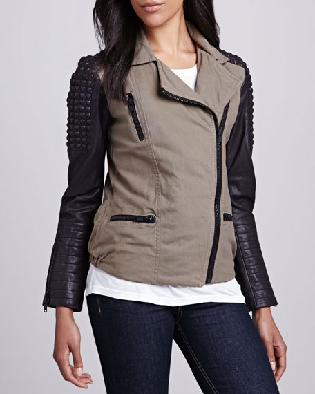 Stud-Shoulder Military Biker Jacket