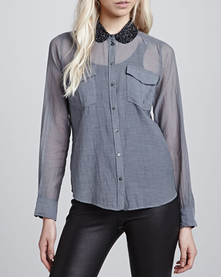 Beaded-Collar Pocket Shirt