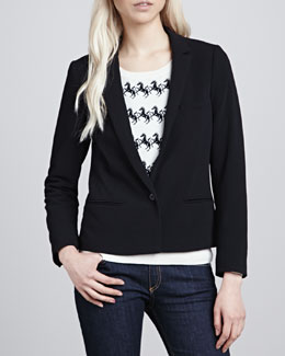 Maison Scotch Single-Button Cropped Blazer