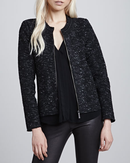 Melange Tweed Zip Jacket
