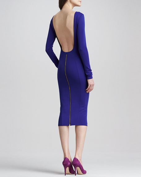 Rayne Backless Zip Dress, Blue