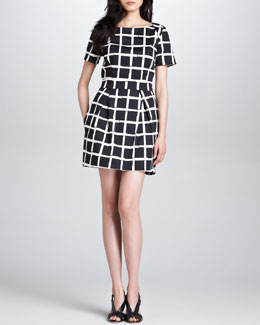 French Connection Richie Structured Check-Print Dress