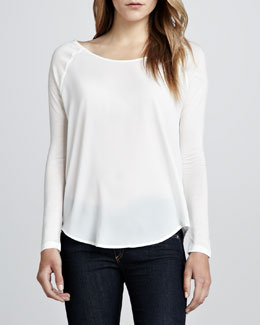 French Connection Polly Plains Combo Raglan Top