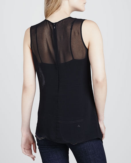 Sheer Leather-Applique Tank