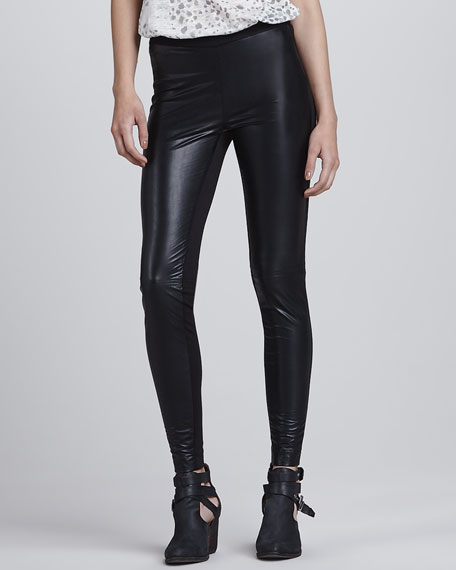 Faux-Leather Knit-Back Leggings