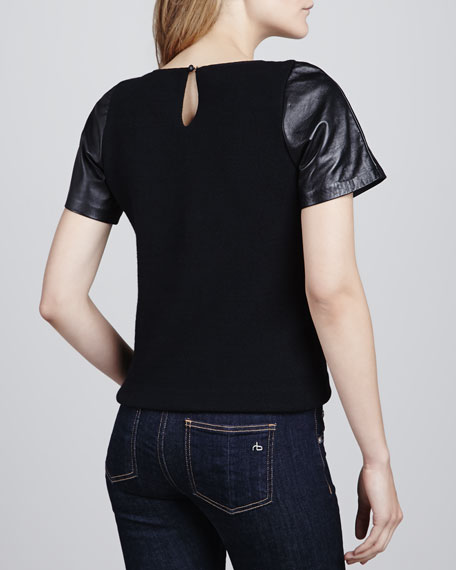 Leather-Sleeve Baseball Tee