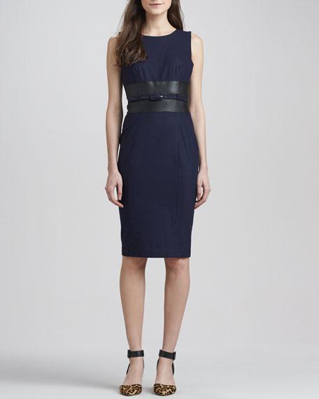 Lana Belted Leather-Waist Dress