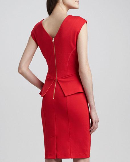 Evvie Split-Peplum Sheath Dress