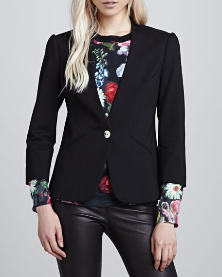 Adale Collarless Single-Button Blazer