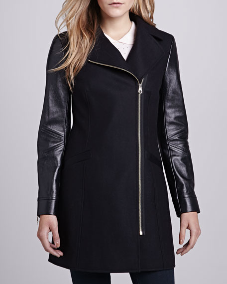 Alycia Leather-Sleeve Coat