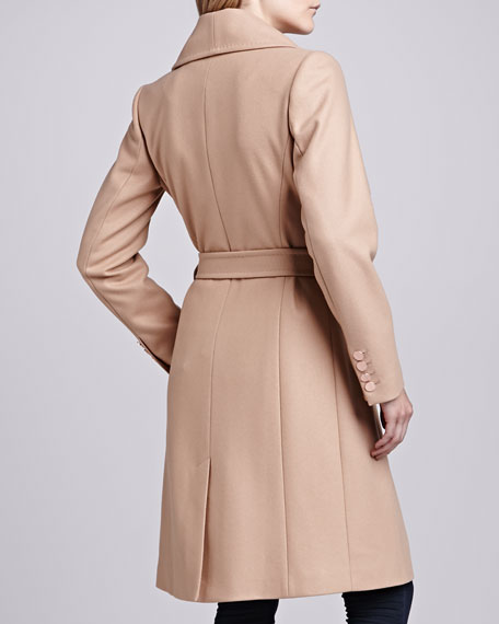 Madigan Belted Drape-Front Coat