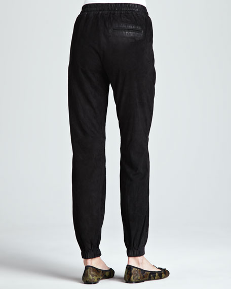 Relaxed Drawstring Leather Pants