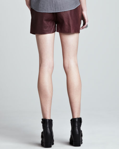 Stud-Pocket Leather Shorts