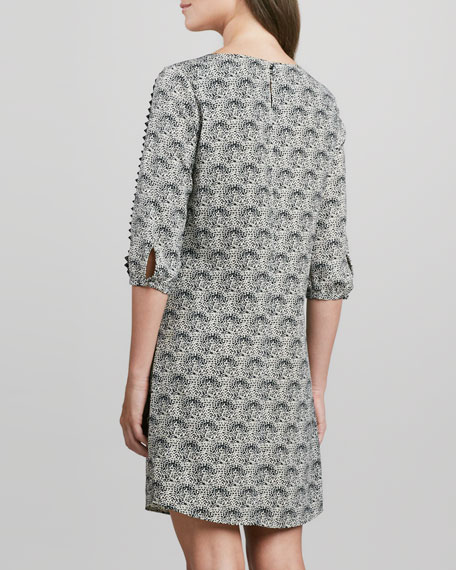 3/4-Sleeve Printed Shift Dress