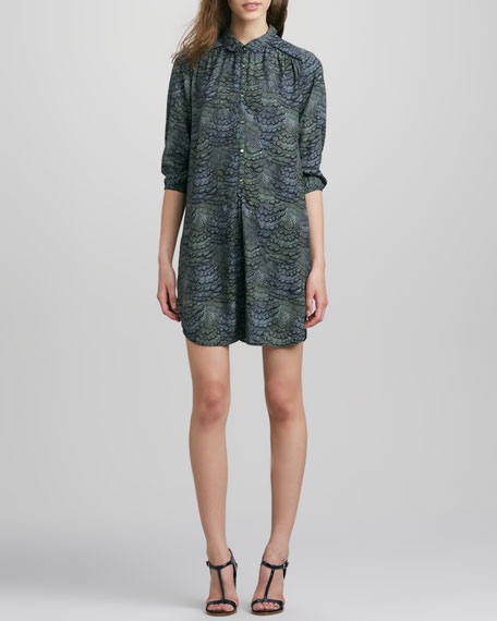 3/4-Sleeve Feather-Print Shirtdress