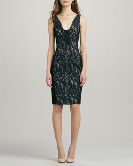 French Connection Lily Jacquard Illusion Dress