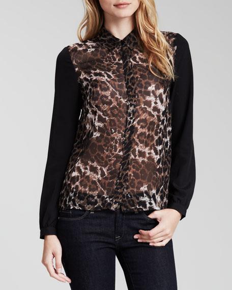 Leopard-Print Blocked Blouse