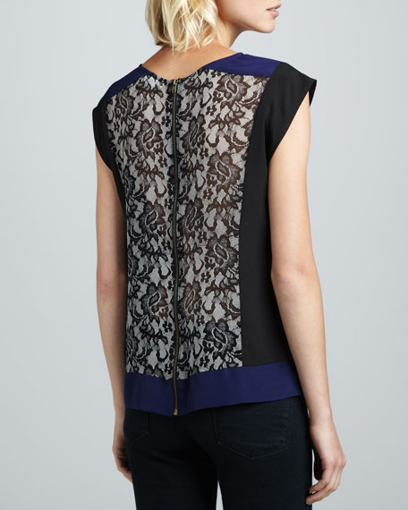 Colorblock Lace-Print Top
