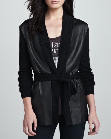 Belted Leather-Panel Cardigan