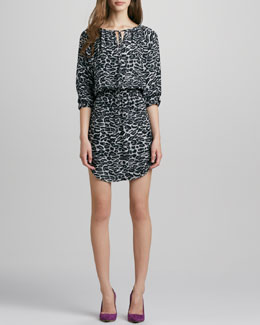 Amour Vert Suriya Printed Snow Leopard Dress