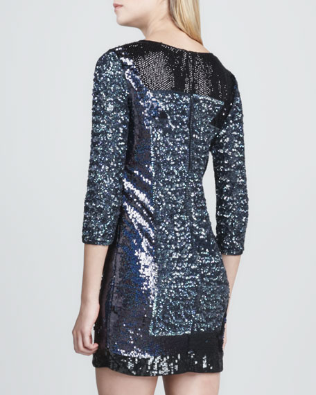 Fitted Sequin-Panel Dress