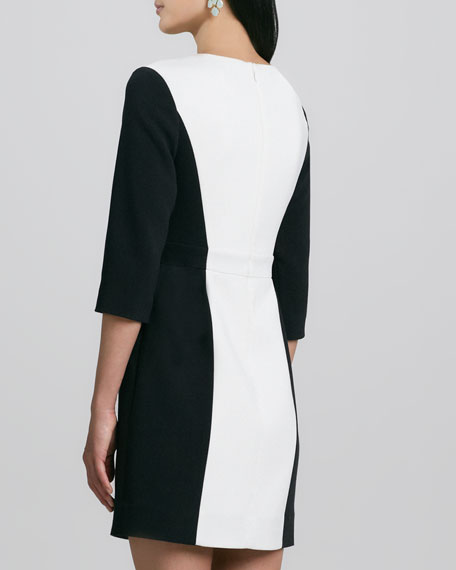 tillie two-tone 3/4-sleeve dress