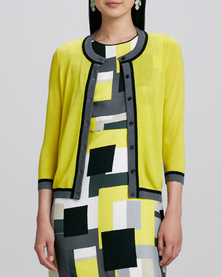 skyla 3/4-sleeve contrast cardigan