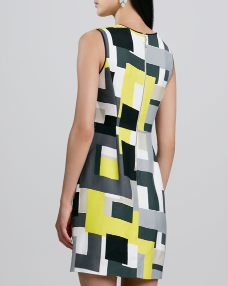 della sleeveless geometric-print dress