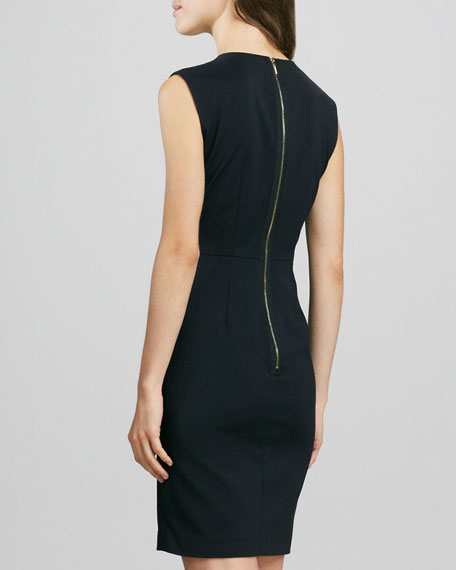 Leather/Ponte Paneled Dress