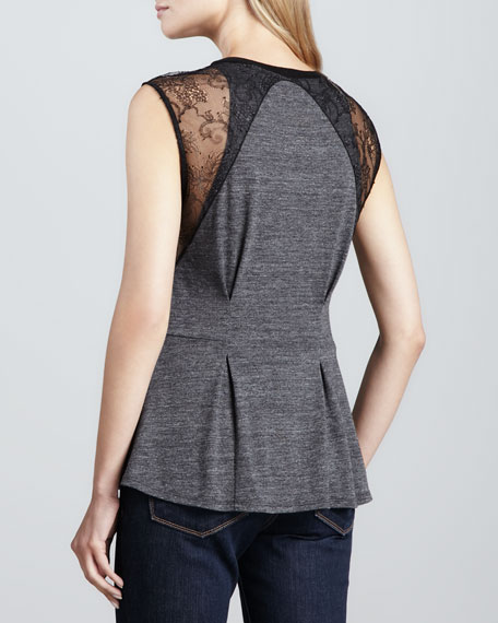 Peplum Tee with Lace Detail
