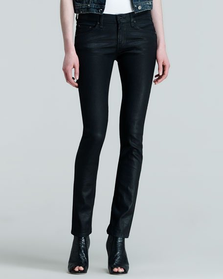rag & bone/JEAN The Skinny Black Coated Jeans