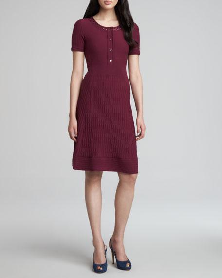 Ashlyn Knit Henley Dress, Washed Red Wine