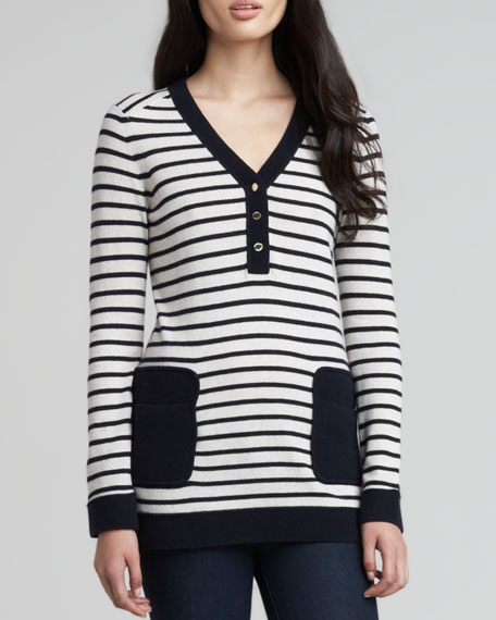 Felicia Army-Striped Sweater, Navy