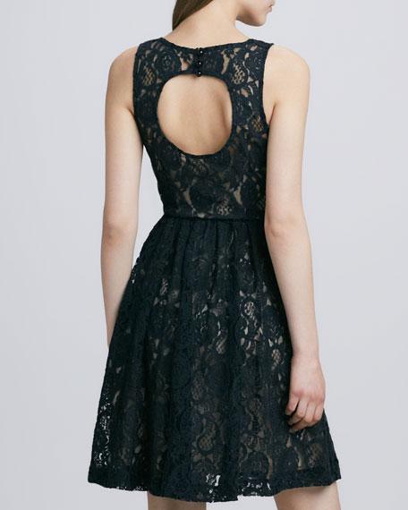 Sleeveless Lace Cutout-Back Dress