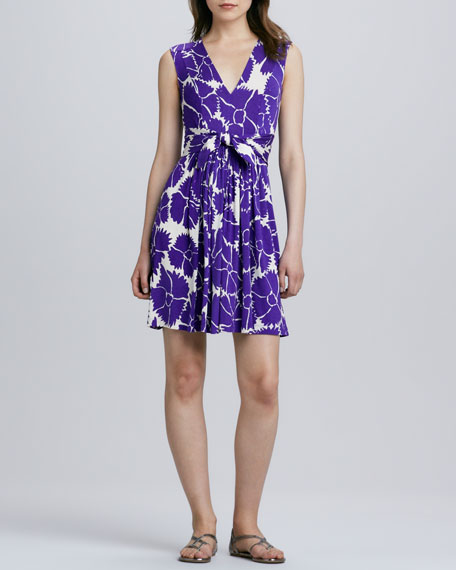 Floral-Print Bow-Front Jersey Dress