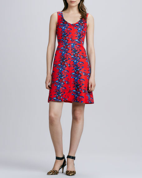 Floral Vines Fit-And-Flare Dress