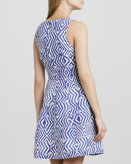 Chevron-Pieced Fit-and-Flare Dress