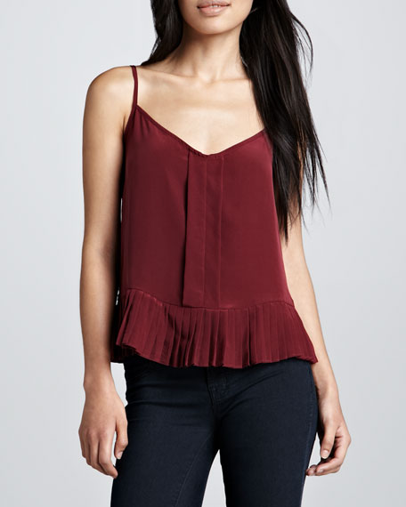 Pleated Silk Tank, Cabernet