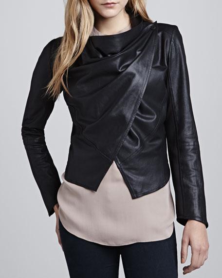 Cropped Leather Drape Jacket