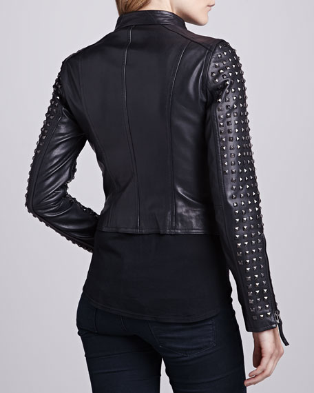 Studded-Front Leather Jacket