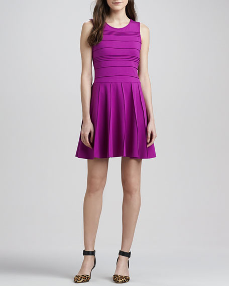 Lacey Pintuck Fit-and-Flare Dress