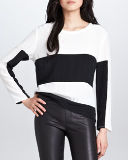PJK Prince Colorblock Striped Silk Tee