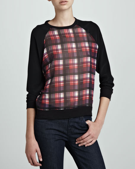 Plaid-Front Silk Pullover