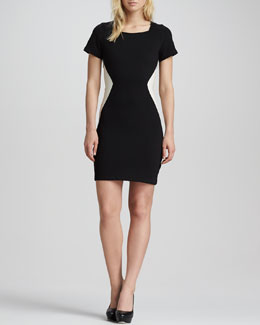 PJK Leanetter Square-Neck Illusion Dress