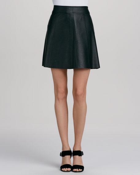Polly Flirty Leather A-Line Skirt