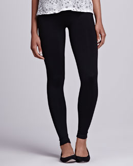 "David Lerner Basic 8"" Jersey Leggings, Black"
