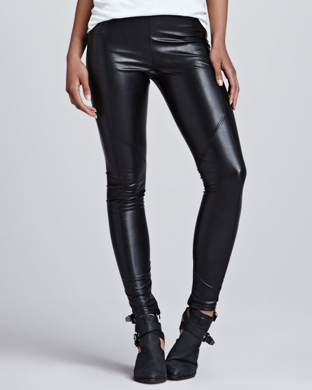 Seamed Vegan-Leather Leggings