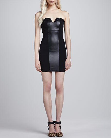 Fitted Strapless Faux-Leather-Stripe Dress